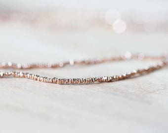 Tiny Rose Gold Vermeil Stick Bead, 1.5mm Rose Gold Vermeil Faceted Spacer, Karen Hill Tribe Rose Gold, Pink Gold Plated Fine Silver, By Inch