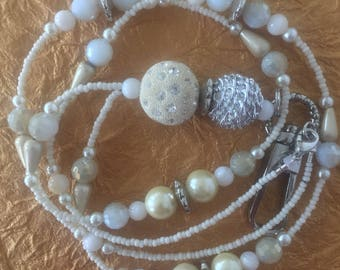 White and Cream Handmade Beaded Lanyard