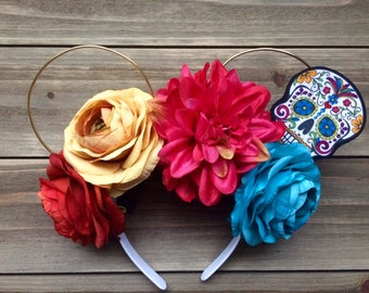 Coco inspired, Day of the Dead, Floral, Flower, Wire, Mickey ears, Minnie ears