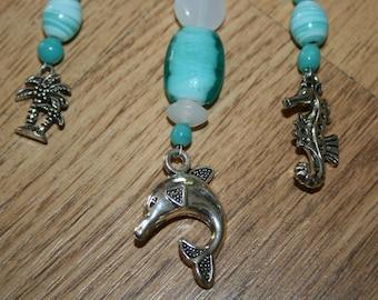 Bag, key ring, turquoise white