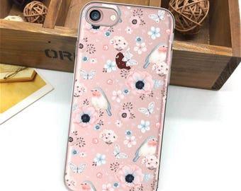 iPhone 7 case, iPhone 7 Plus case, floral, iPhone 6 case, birds case, iPhone 6Plus case, tender, iPhone SE case, iPhone 8 case iPhone 8 Plus
