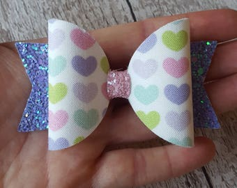 Love heart bow, valentines hair bow, valentines gift, first valentines, purple hair bow, glitter hair bow, pink hair bow, handmade bow