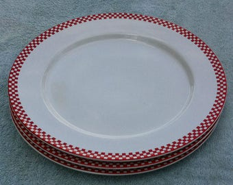 3 mint Inter- National Trattoria red dinner plates