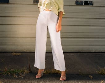 Vintage High Waisted Baby Blue Silk Trousers