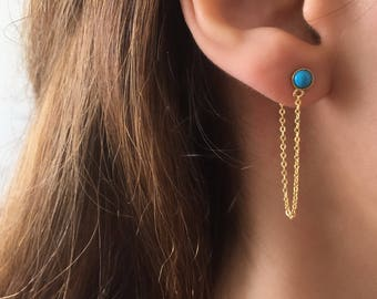 Dainty Turquoise chain earrings. Turquoise Stud Earrings. Gold Threader Earrings. Dainty Chain Earrings. Sterling Silver Turquoise Studs
