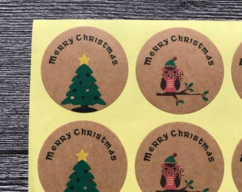 48 Christmas Labels - Christmas Stickers - Gift Stickers
