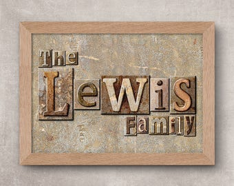 Family Name Art Print - Stone Blocks,Personalised Family Name Print,Surname Art Print,Family Print,Second Name Print,Second Name Art