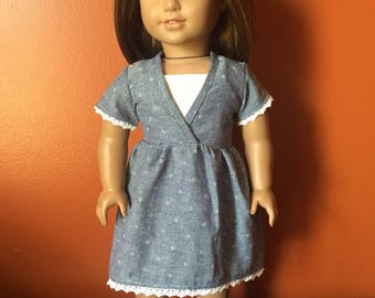 Chambray and Lace Dress with White Sandals made to fit 18 inch dolls such as American Girl Dolls