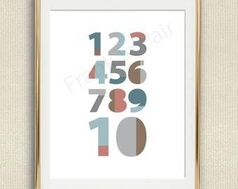 Numbers Kids Print,Playroom Decor,Kids Wall Art,colorful Nursery Print,Printable Nursery Wall Art,Playroom Print,Printable Kids Room Art