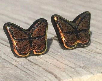 Dichroic Fused Glass Stud Earrings - Orange Butterfly Laser Engraved Etched Stud with Solid Sterling Posts
