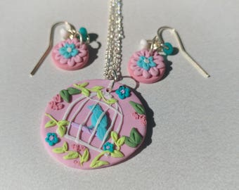 Unique Flower and Bird Cage Earring and Pendant Set, Clay Applique Jewelry, Earrings and Necklace set, Gift for Her