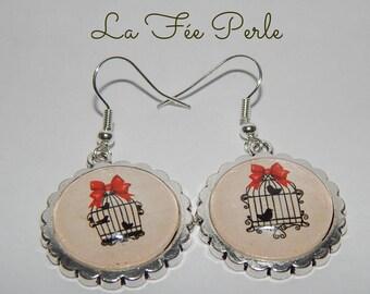 Fancy cabochons bird cage earrings