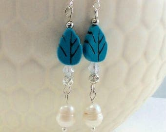 Carved Leaf Blue Magnesite Cultured Pearl Drop/Dangle Earrings with .925 Silver Wires