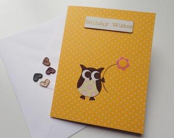Handmade Owl Birthday Card - Handmade Greeting Card - Owl Birthday Card - Birthday Cards - Owl Greeting Card - Handmade Owl Card - Owl Card