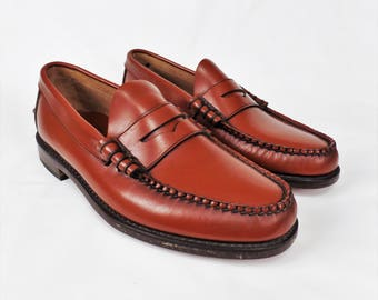Florsheim Men's Penny Loafer Slip On Leather Dress Shoes Cognac Size 9E Made in USA Never Worn