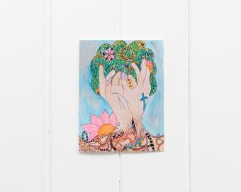 John 15 Notecard Set/ Abide Scripture Watercolor Blank Greeting Card/ Uplifting Card/ Religious Art/ Human Hand Fruit Tree Painting/CC-22