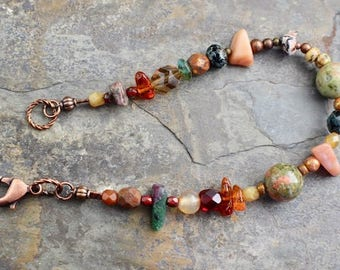 NEW Viking inspired bracelet, natural stone,stone chips, matubo beads, Czech glass beads, copper lobster clasp,B173