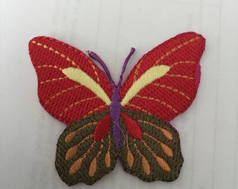 Butterfly Cute Red Embroidered Patch  Iron Or Sew