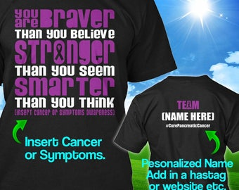 Personalized Pancreatic Cancer Awareness T-shirt Purple Ribbon Braver Support Survivor Custom T-shirt Apparel Unisex Women Youth Kids Tee