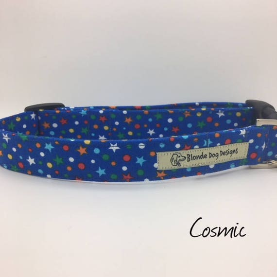Star Dog Collar, Cosmic, Blue Dog Collar, Cute Dog Collar, Dog Collar UK.