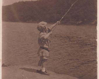 Vintage Photo Cute Child Fishing Cane Pole Found Antique Black & White Photo Ephemera Adorable Children Decoration Paper Art Collectible