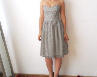 Grey Lace bridesmaid Dress, light grey bridesmaid dresses, Bridesmaid dress, gray lace dress, lace dress, elegant grey lace dress