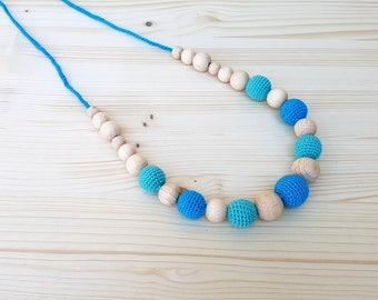 Teething necklace Turquoise Nursing necklace Wooden beads necklace Crochet wooden beads necklace Organic Natural Eco-friendly Teething toy