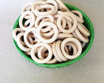 SALE! Wooden rings 34mm, 10/20/30/50 pcs, Beech wood, Teething rings, Unfinished Natural Wooden toy, High quality wooden rings, Wholesale