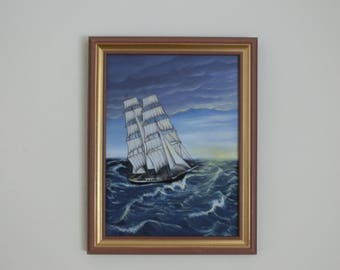 "Oil painting ""Brig Mercedes' size cm 30 x 40 sailing ship Sea"