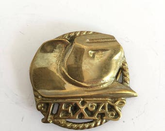 Brass Texas Belt Buckle with Lasso and Cowboy Hat Interchangeable
