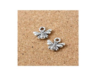 SET of 3 charms-minimalist honey hive bee Silver (C32)