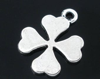 SET of 10 (B56) silver tone luck 4 leaf clover charms