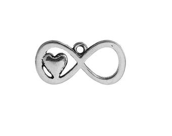 SET of 6 infinity symbol (E78) silver love heart charm