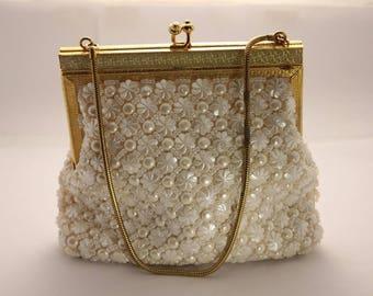 Vintage- Mother of Pearl Beaded-Elegant-Cream-Hand Bag-Purse-1960