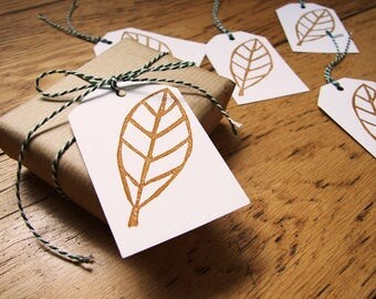 Fall leaves pattern tags. stamped by hand. set of 5 tags with strings