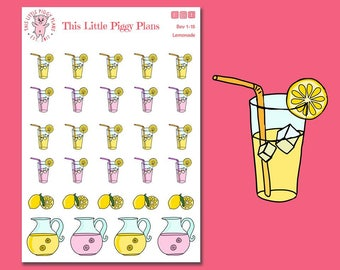Lemonade Planner Stickers - Lemonade - Beverage Stickers - Drinks - Summer Planner Stickers - [Bev 1-15]