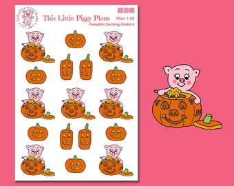 Pumpkin Carving Oinkers - Pumpkin Planner Stickers - Jack-o-Lantern Stickers - Pumpkin Carving - Halloween Stickers - Holiday - [Misc. 1-53]