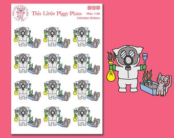 Litterbox Oinkers - Scoop Litterbox Planner Stickers - Scoop Kitty Litter - Pet Care Stickers - Kitty Care - Cat Stickers - [Misc. 1-68]