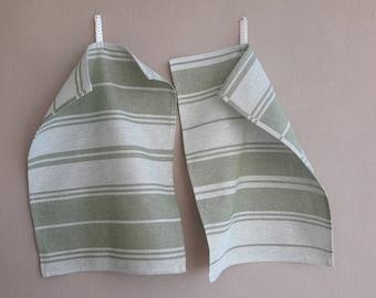 Linen tea towels set of 2 green - white, Organic dish towel, Spring trends, Natural linen kıtchen towels, Softened towel, Housewarming gift