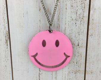 1970s Pink Vintage Happy Smiley Face Necklace