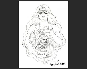 COLORING PAGE - Tolkien Illustration - Beren and Luthien