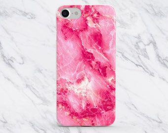 Pink Marble Phone Case, iPhone 8 Plus Case, iPhone 8 Case, iPhone 7 Plus Case, iPhone 7 Case, iPhone 6 / 6s Case, Cute Phone Case