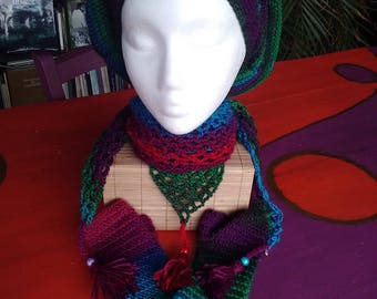 Set of beret, mittens and scarf 100% handmade