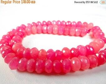 57% Celebration Sale-- Bubble gum pink Quartz faceted rondelles/8mm/14 inches long