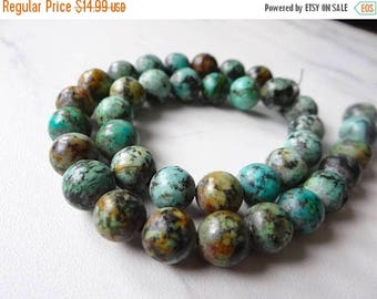 59% End of Summer Sale-- African Blue Green Turquoise smooth round beads/10mm /7 inch strand