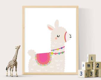 Llama print, Alpaca print, Llama printable, Llama wall art, Nursery wall art, Nursery decor, Nursery prints, Girls room prints, Girls decor