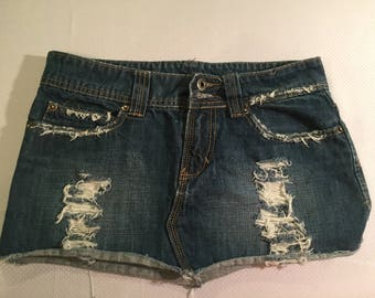 TWENTY ONE Misses Hand-Distressed Blue Jeans Mini Skirt, Stretch, Size Sm.
