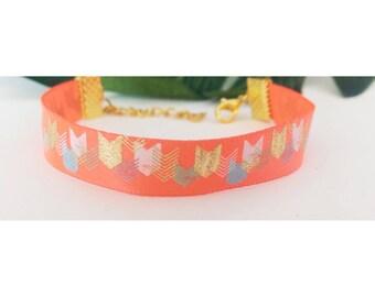 Orange pink arrow bracelet