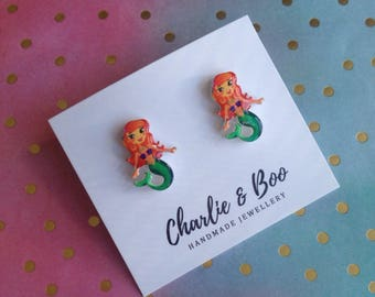 Mermaid Studs - Mermaid Earrings - Mermaid Jewellery - Under The Sea Studs - Fantasy Studs - Fantasy Earrings - Fantasy Jewellery