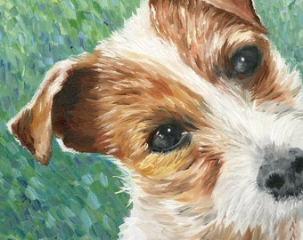 """Jack Russell Terrier Art Print of Oil Painting - 8 x 10"""""""